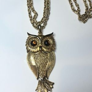 Vintage Large Owl Necklace Double Strand Chain